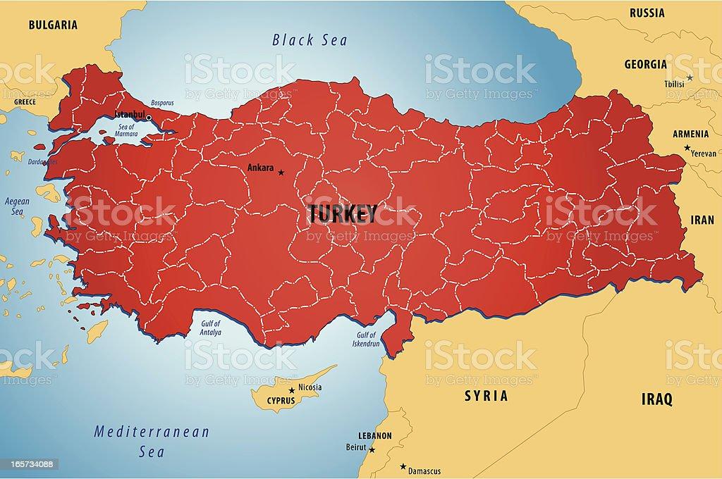 Map Of Turkey royalty-free stock vector art
