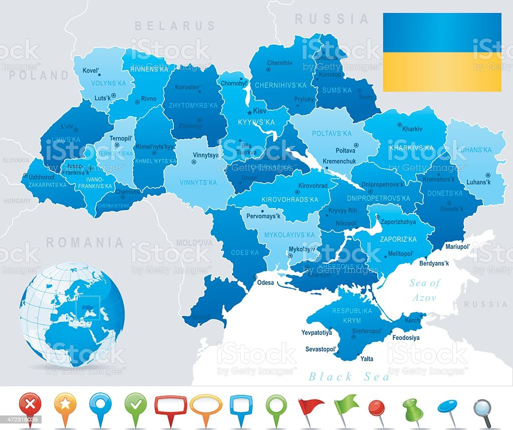Map of Ukraine - states, cities, flag and icons vector art illustration