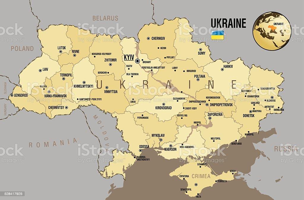 Map of Ukraine vector art illustration