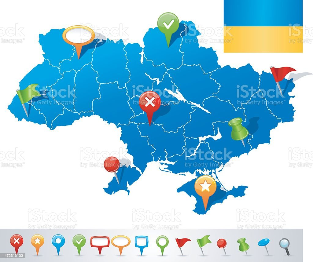 Map of Ukraine with navigation icons royalty-free stock vector art