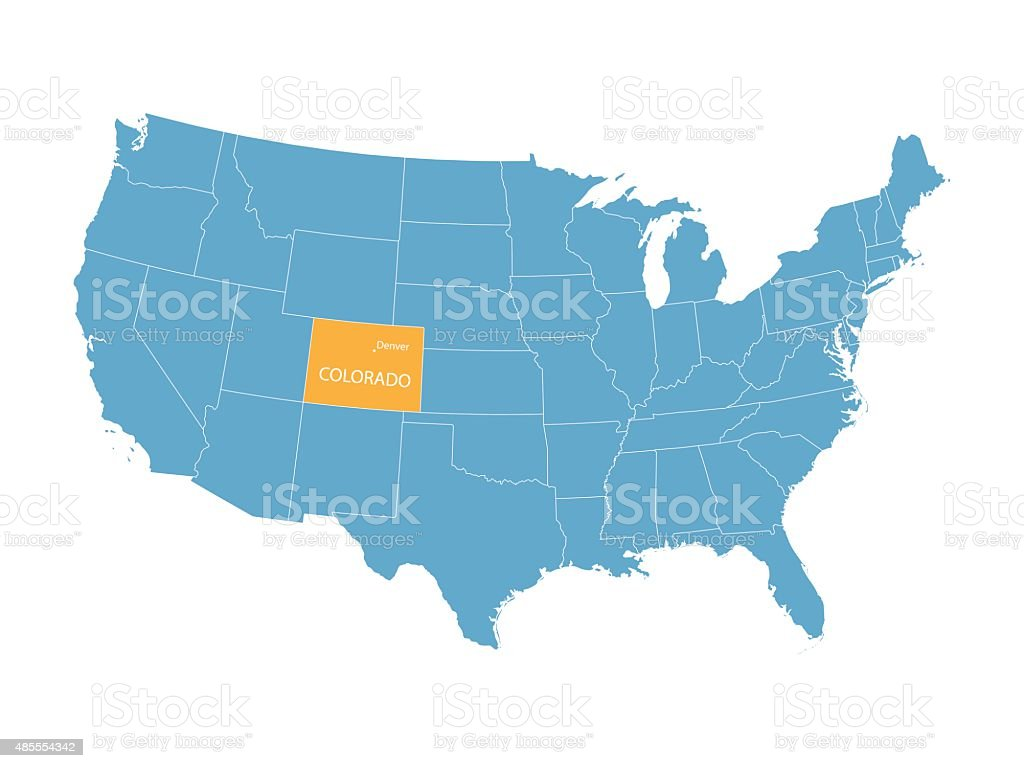 map of United States with indication of Colorado vector art illustration