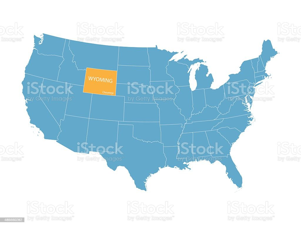 Map Of United States With Indication Of Wyoming Stock Vector Art - Wyoming us map
