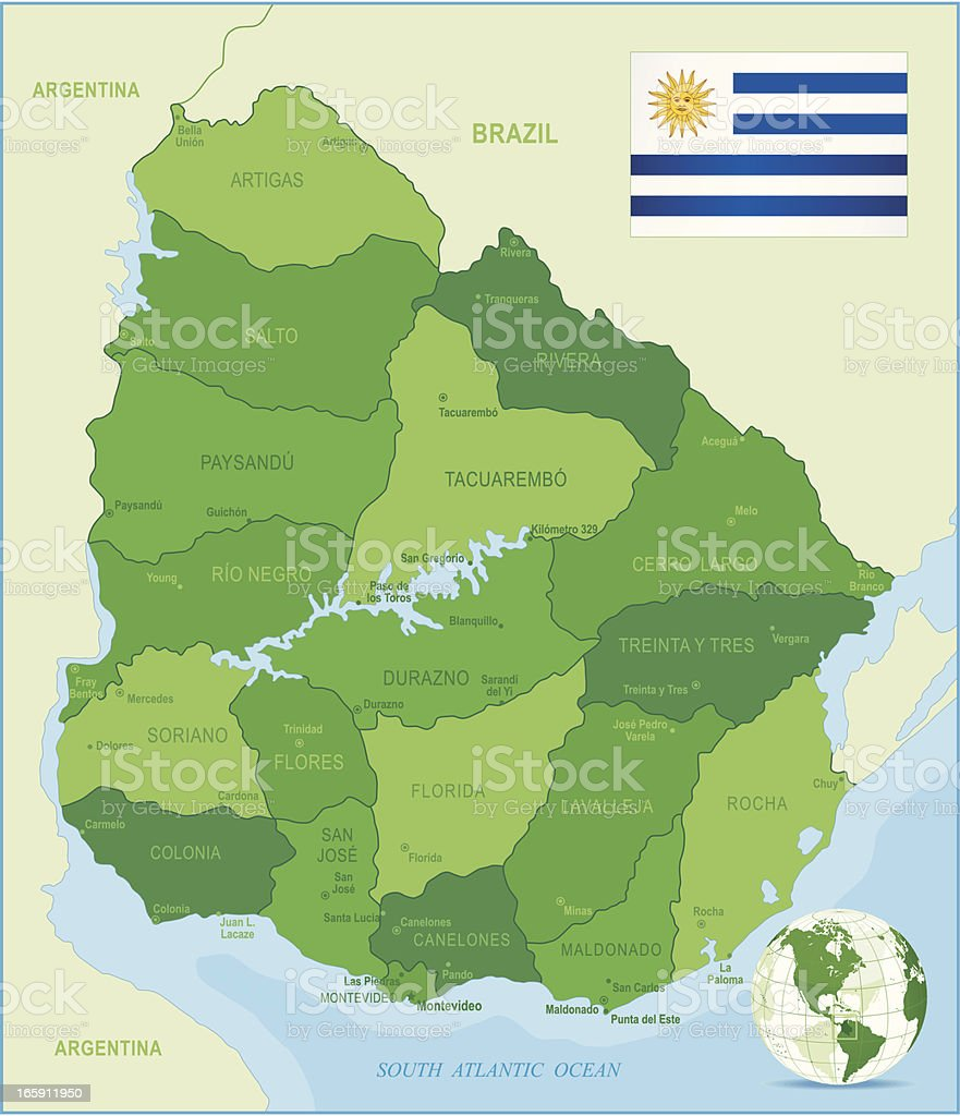 Map of Uruguay - states, cities and flag vector art illustration