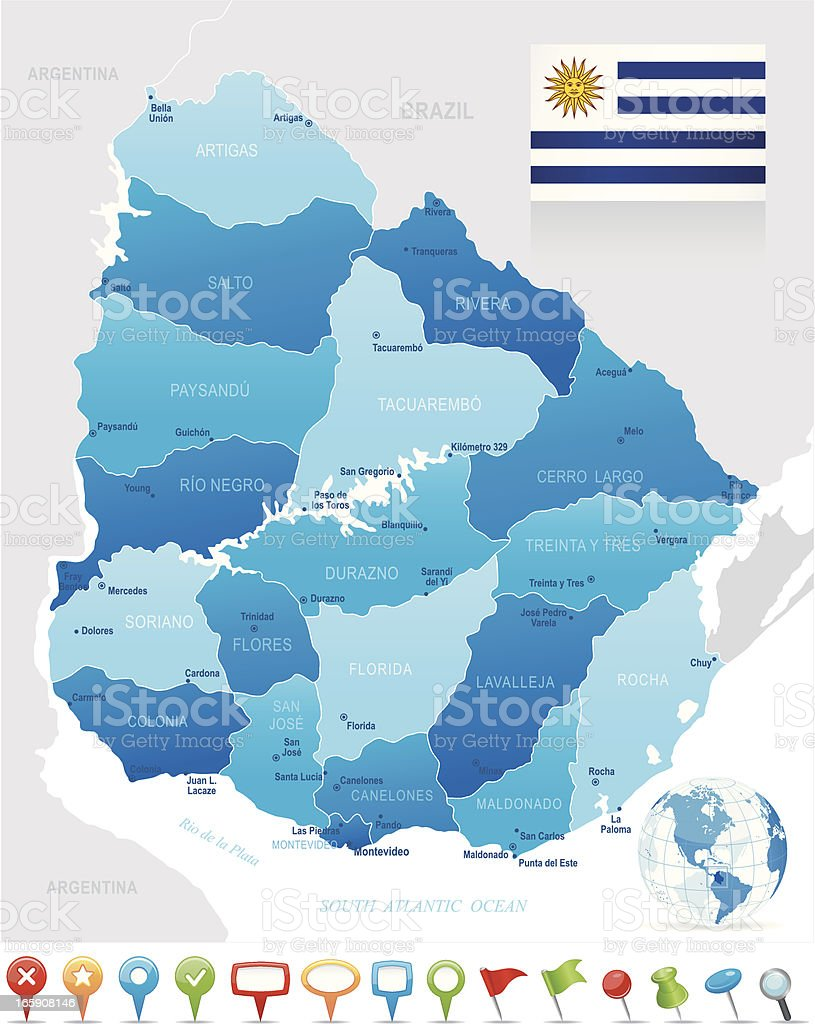 Map of Uruguay - states, cities, flag and navigation icons vector art illustration