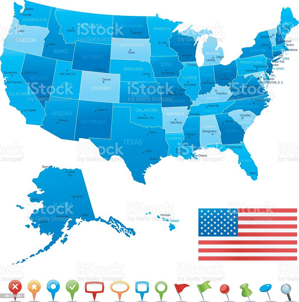 Map of USA - states, cities and navigation icons royalty-free stock vector art