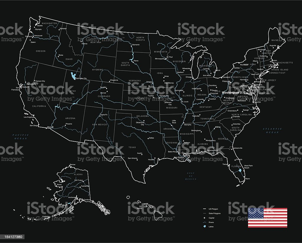 Map Of Usa States Cities And Rivers Stock Vector Art - Us map rivers and cities