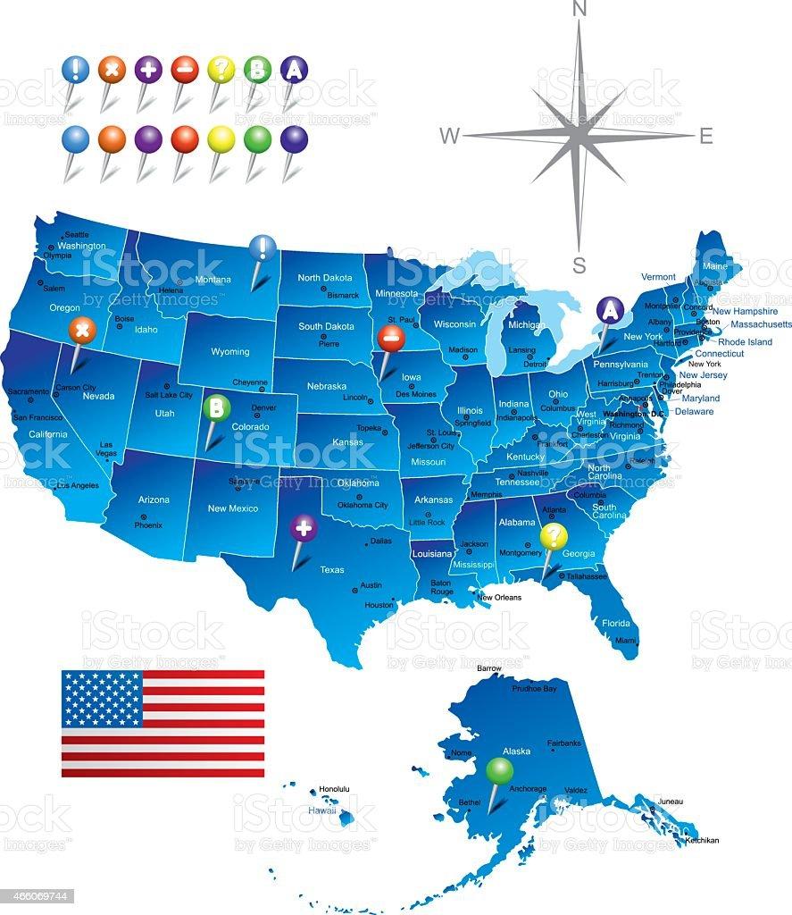 Map of USA vector art illustration