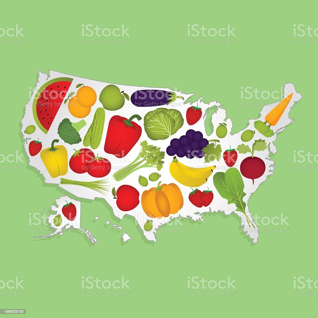 Map of USA with fruits vector art illustration