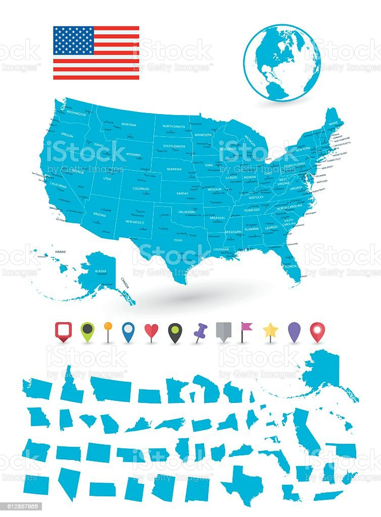 Map of USA with it's states and flat map pointers vector art illustration