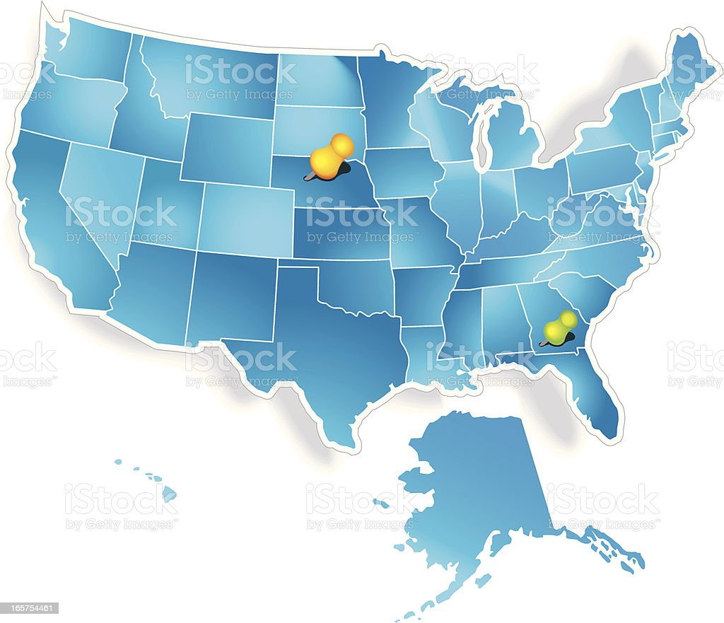 Map of USA with pins royalty-free stock vector art
