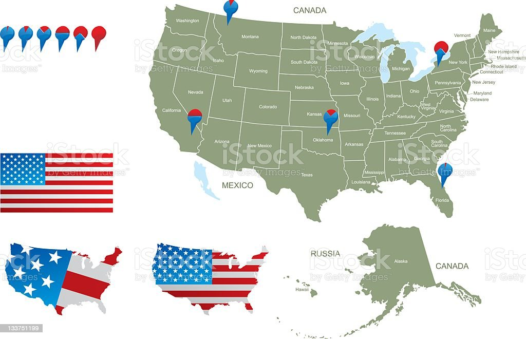 Map of USA with pointers stock photo