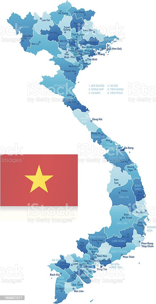 Map of Vietnam - states, cities and flag royalty-free stock vector art