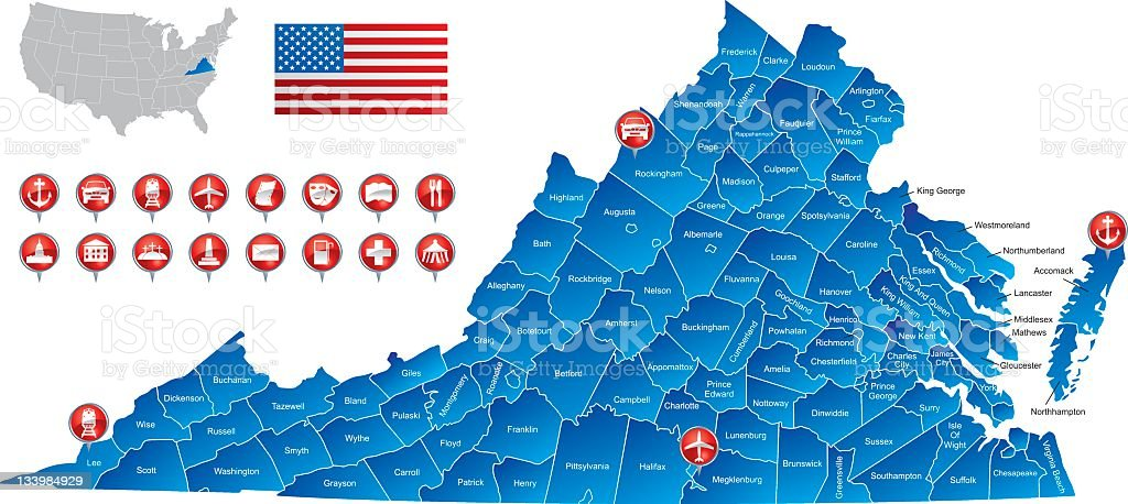 Map of Virginia stock photo