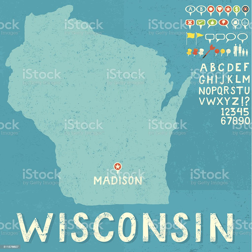 Map of Wisconsin with icons vector art illustration
