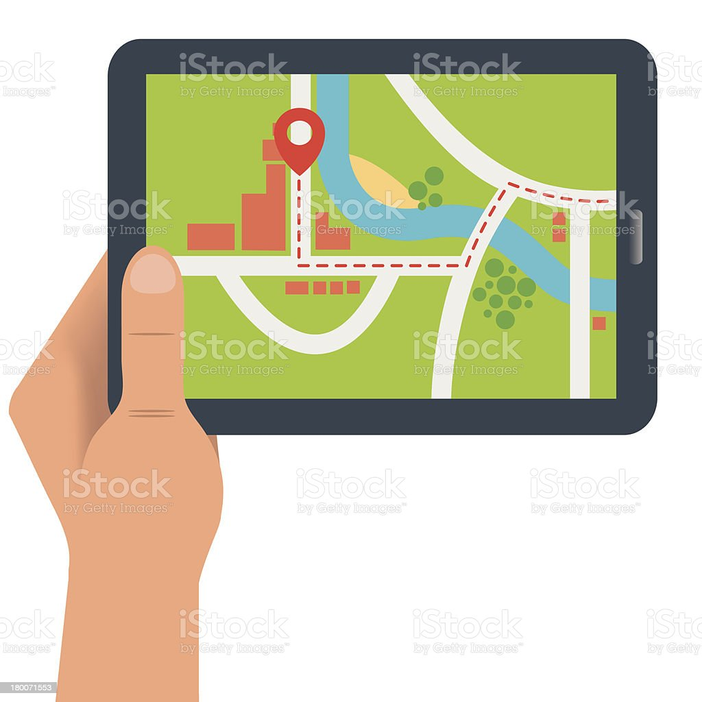 Map on a digital device royalty-free stock vector art
