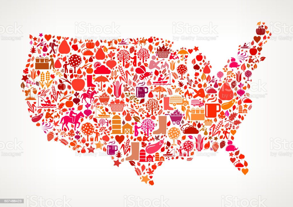 USA Map on Autumn Seasonal royalty free vector art Pattern vector art illustration