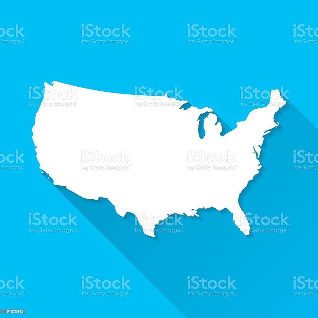 USA Map on Blue Background, Long Shadow, Flat Design vector art illustration