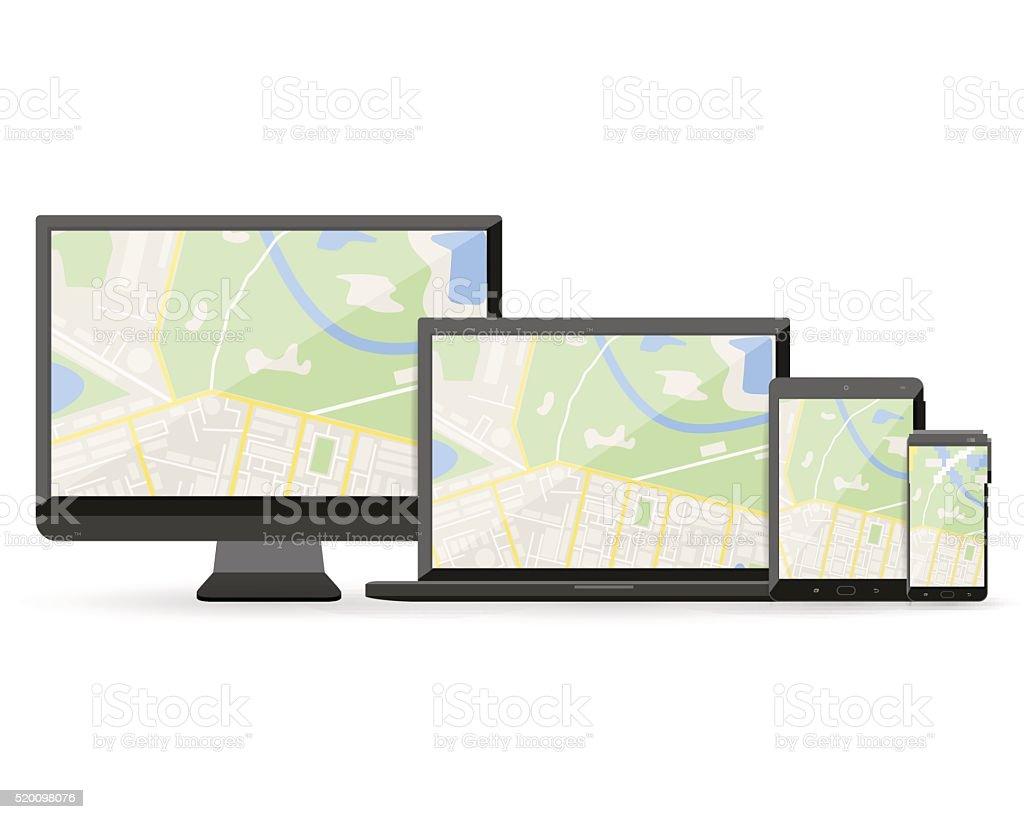 GPS map on display of modern digital devices vector art illustration