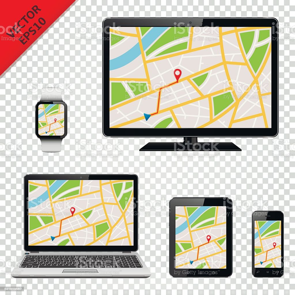 GPS map on display of modern digital devices vector art illustration