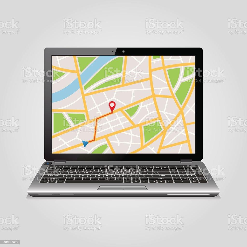 GPS map on display of modern notebook vector art illustration