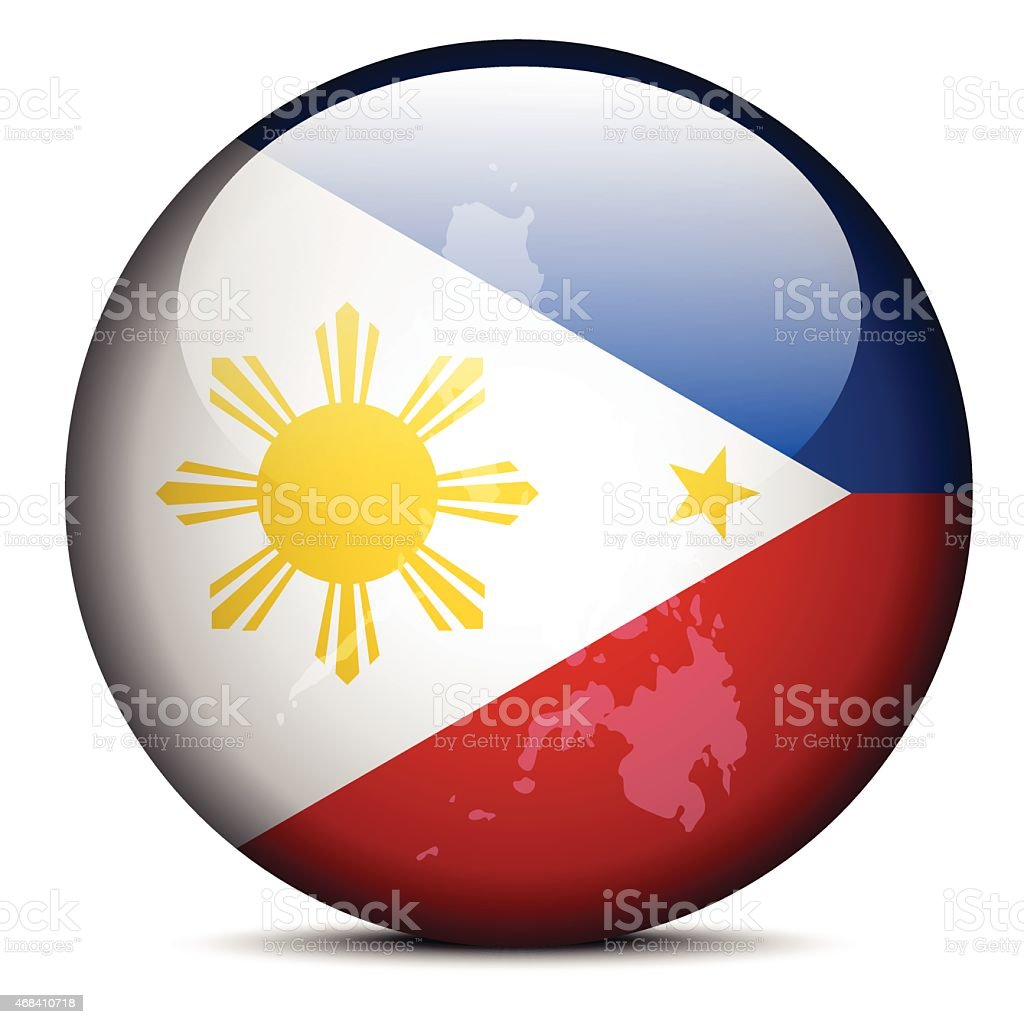 Map on flag button of Republic  the Philippines vector art illustration