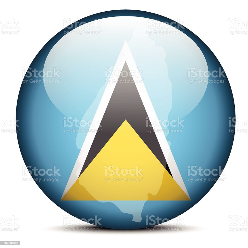 Map on flag button of Saint Lucia vector art illustration