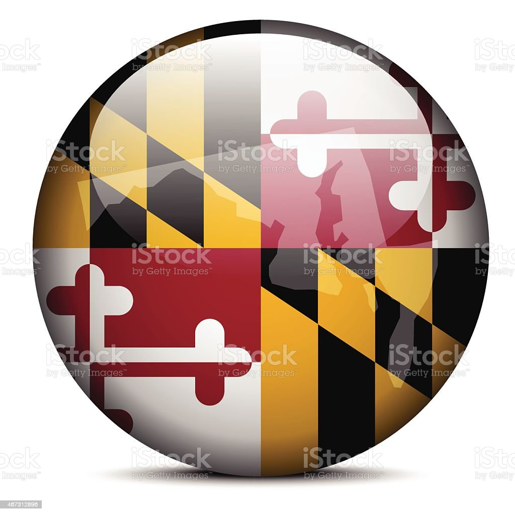 Map on flag button of USA Maryland State vector art illustration