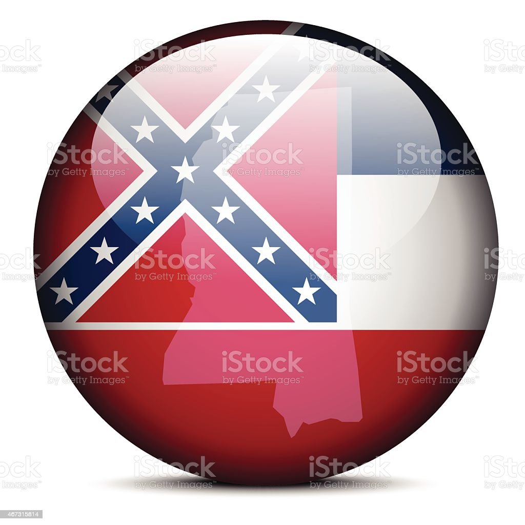 Map on flag button of USA Mississippi State vector art illustration