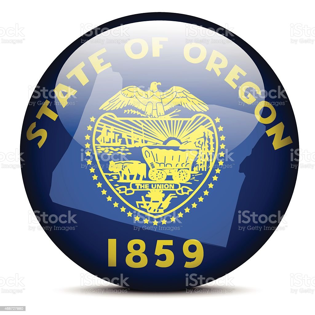 Map on flag button of USA Oregon State vector art illustration