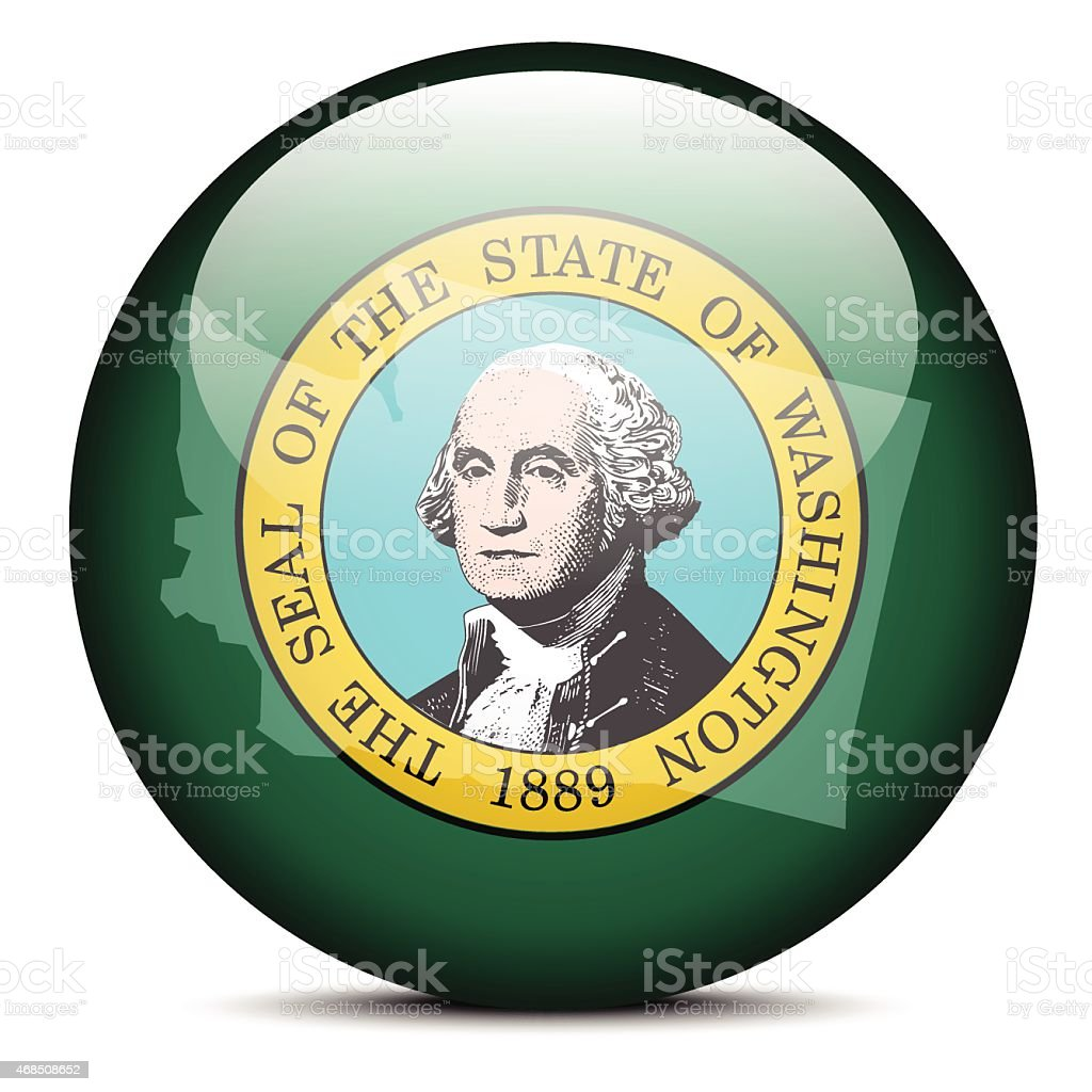 Map on flag button of USA Washington State vector art illustration