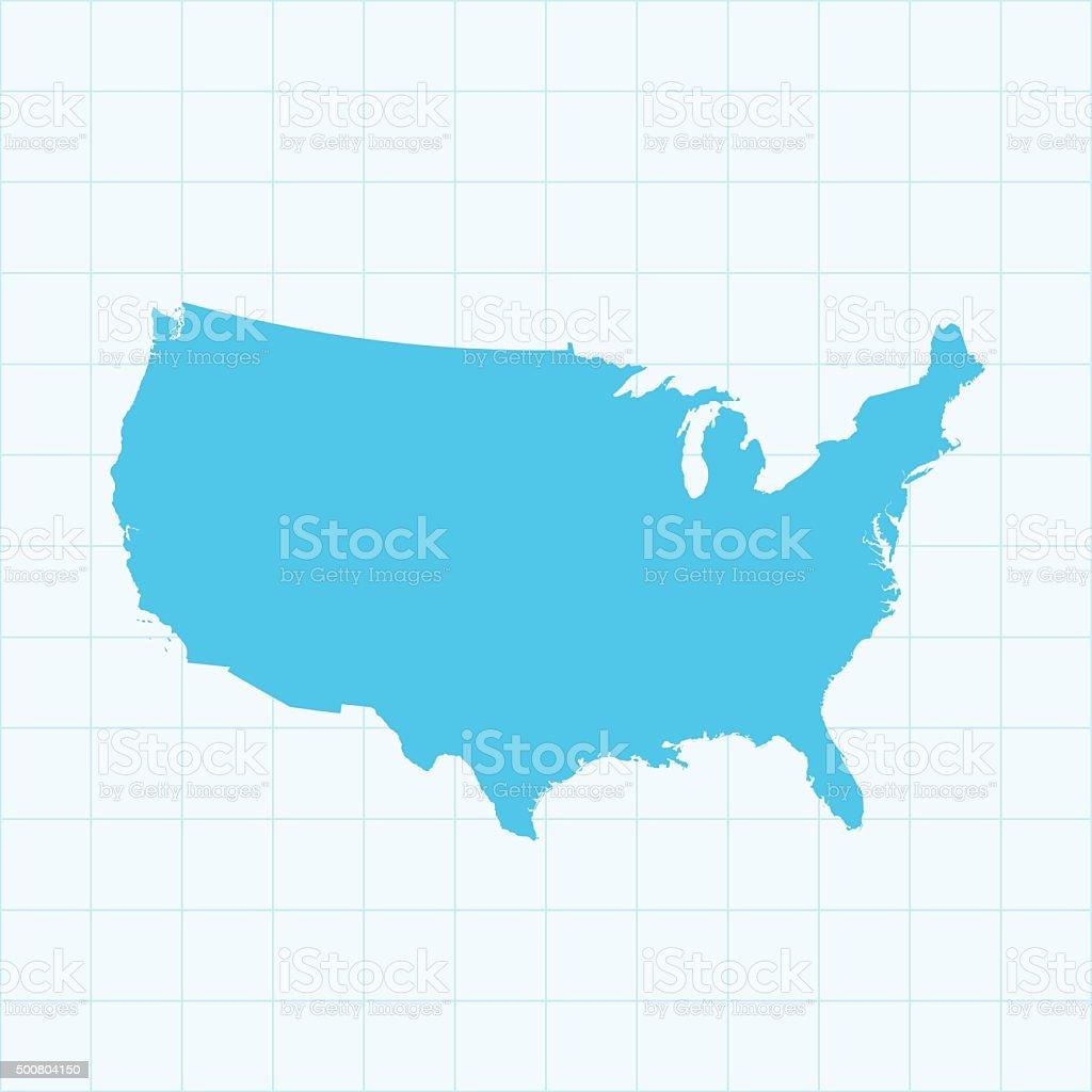 USA map on grid on blue background vector art illustration