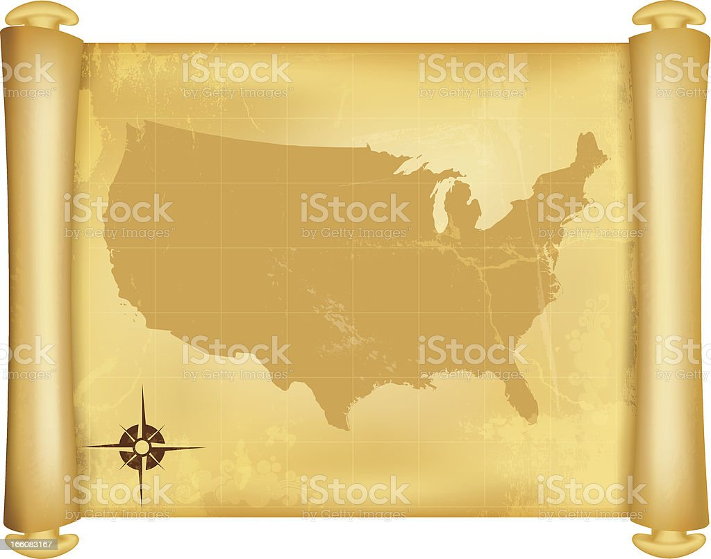 USA Map on grungy paper scroll vector art illustration