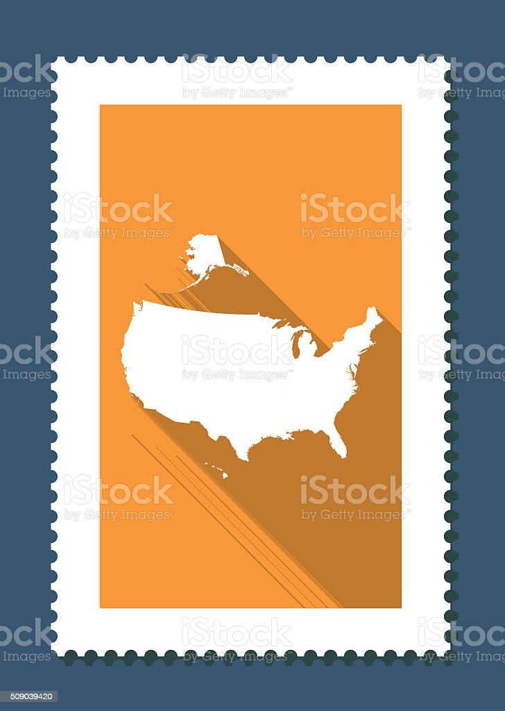 USA Map on Orange Background, Long Shadow, Flat Design,stamp vector art illustration