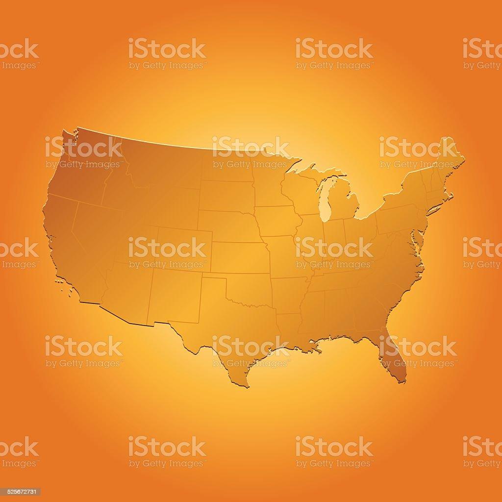 USA map on orange sunny background vector art illustration