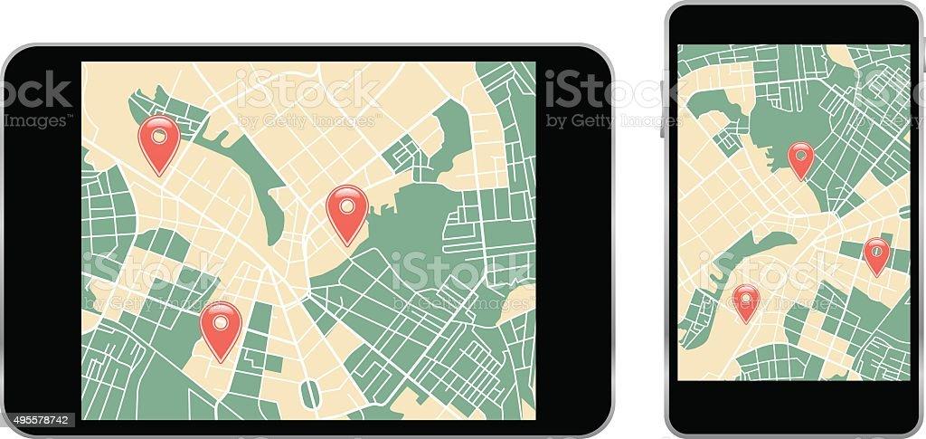 map on smartphone vector art illustration