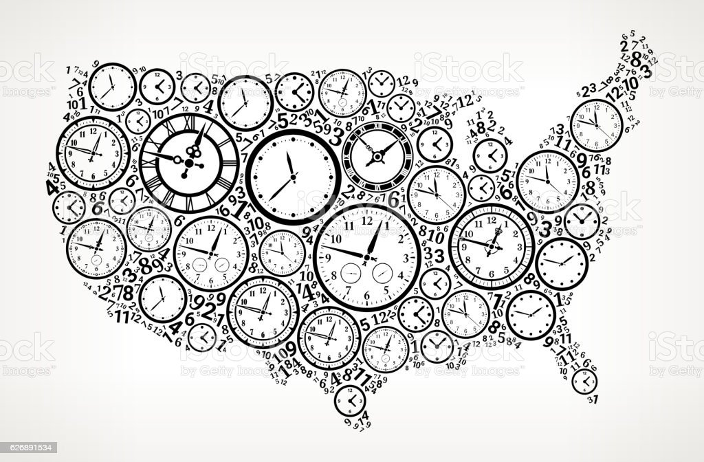 US Map on Time and Clock Vector Icon Pattern vector art illustration