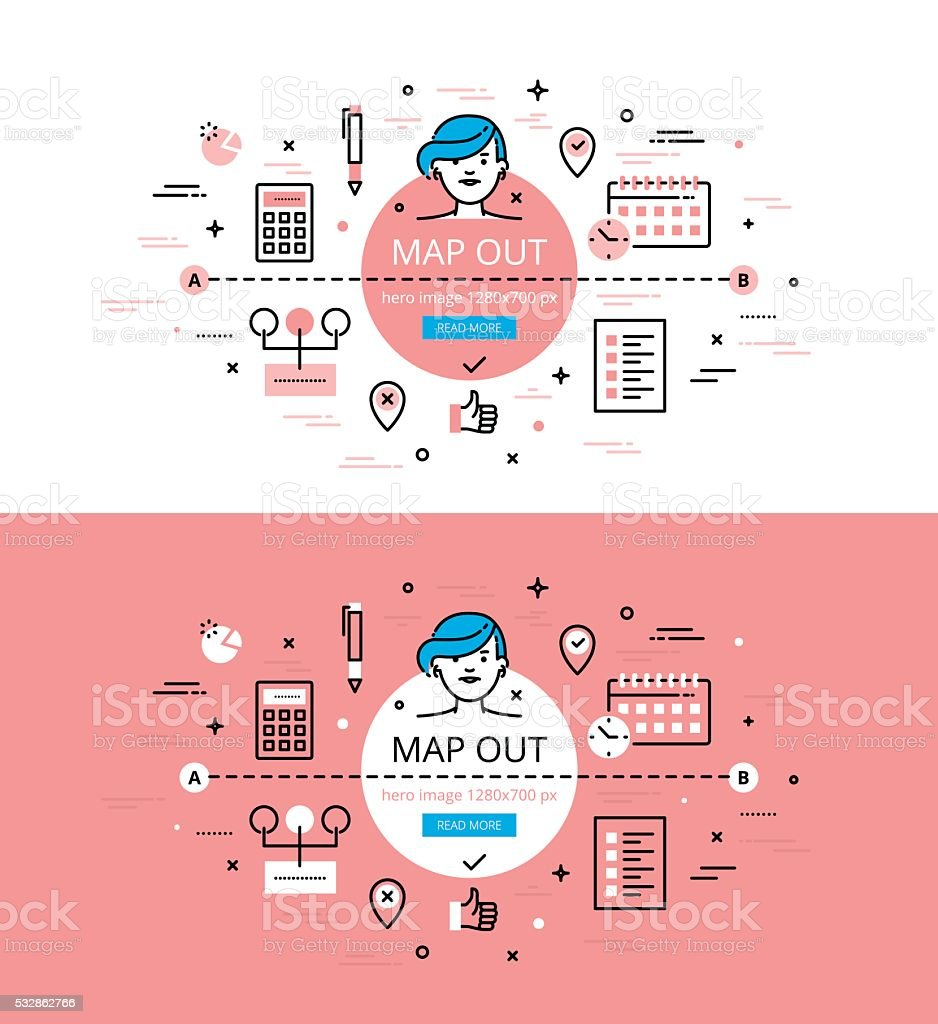 Map Out. Flat linear hero images and hero banners design concept vector art illustration