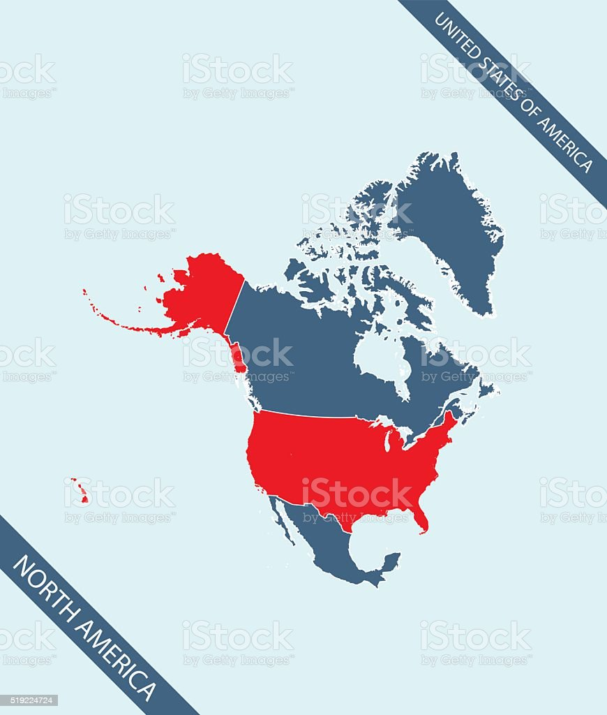 Usa Map Outline Vector Highlighted In North America Stock Vector - Map usa canada vector