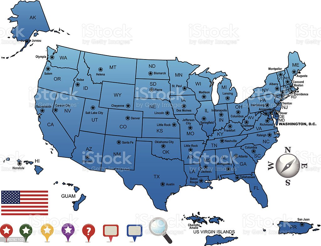 Usa Map Outline With State Capitals And Its Territories Stock - Map usa state capitals