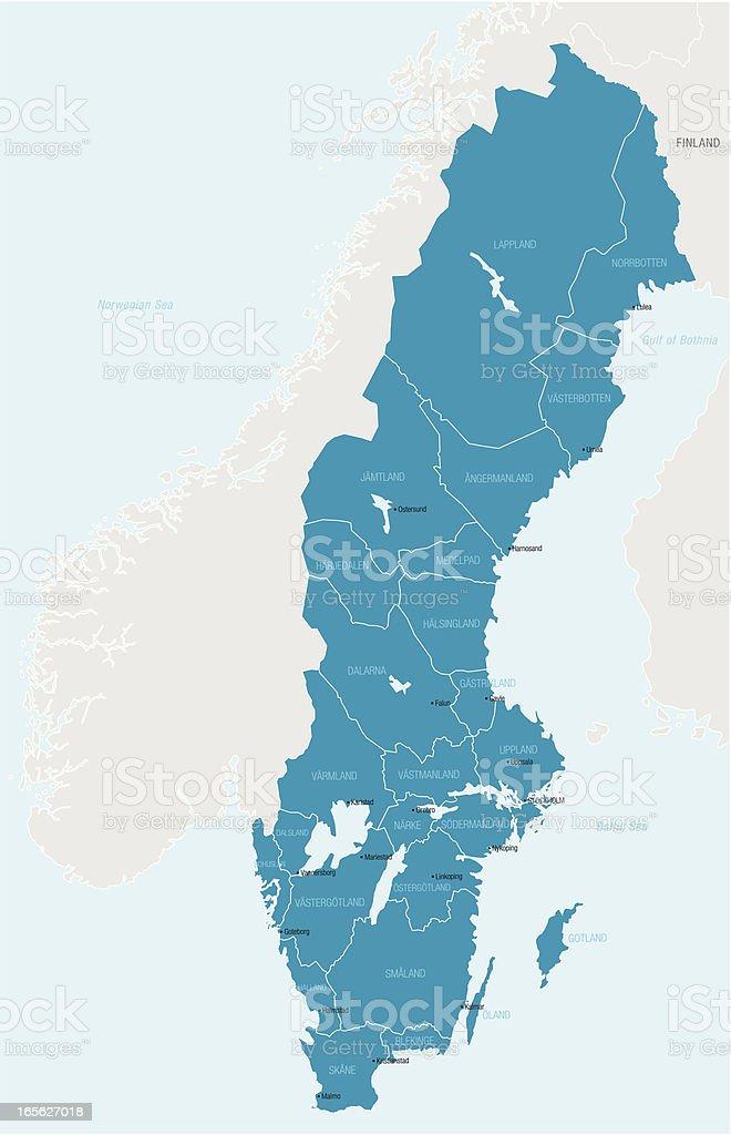 Map outlining only Sweden in blue vector art illustration