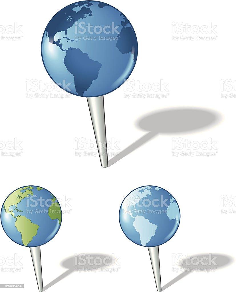 Map Pin Globes royalty-free stock vector art