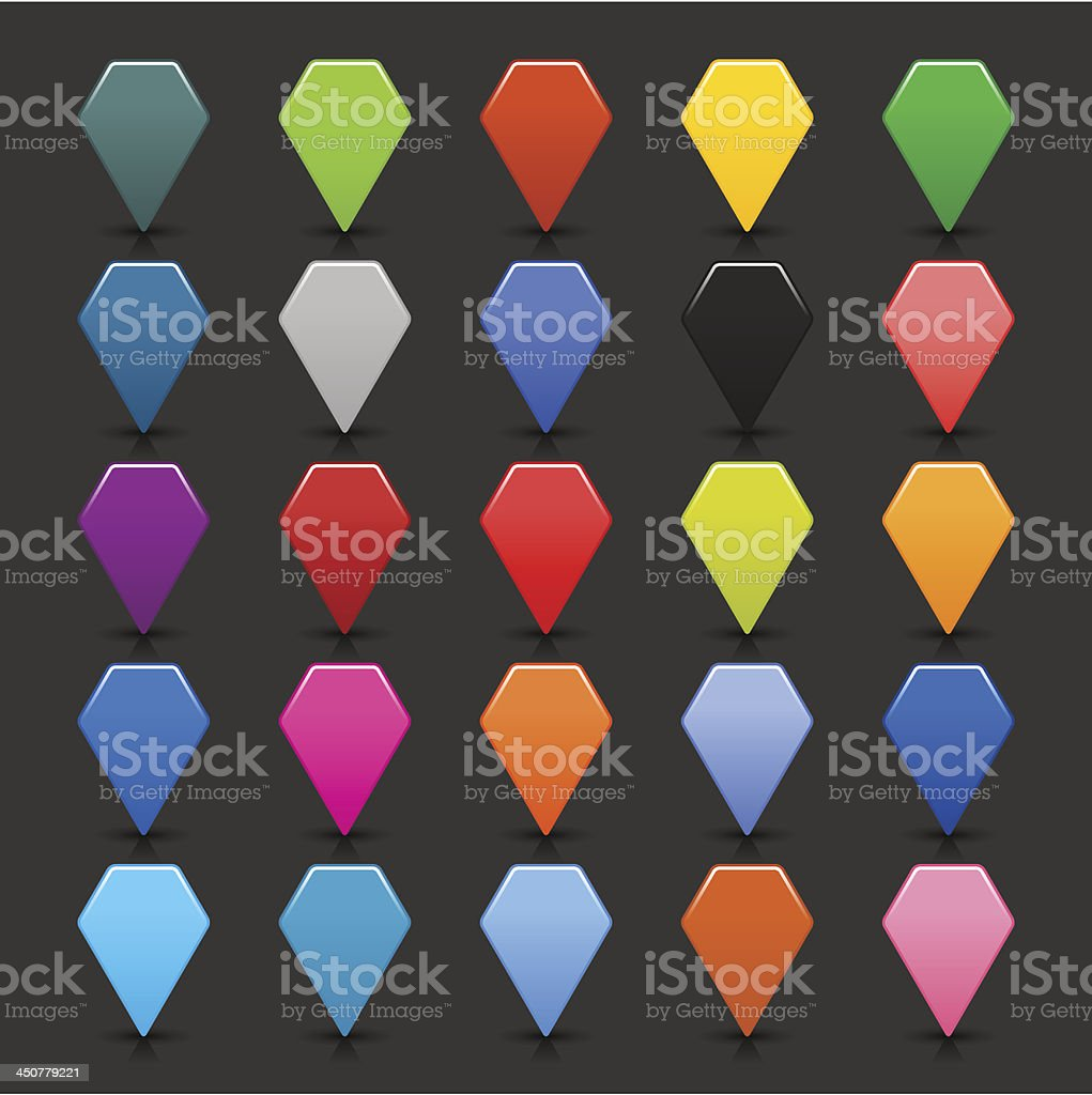 Map pin icon empty hexagon button distance marker location pointer royalty-free stock vector art