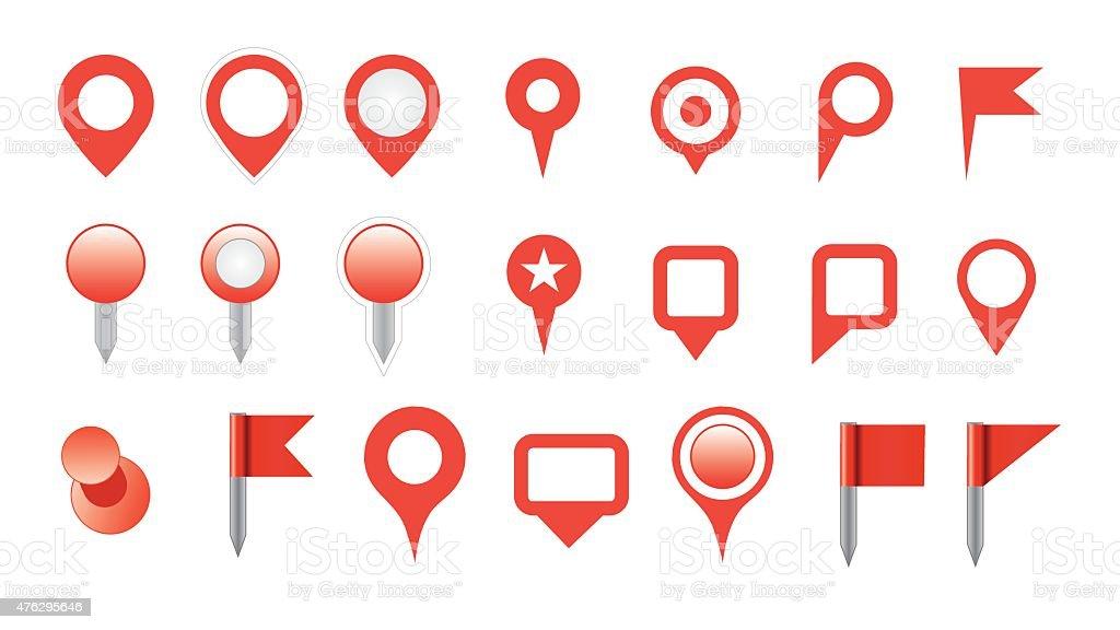 map pin icon set vector art illustration