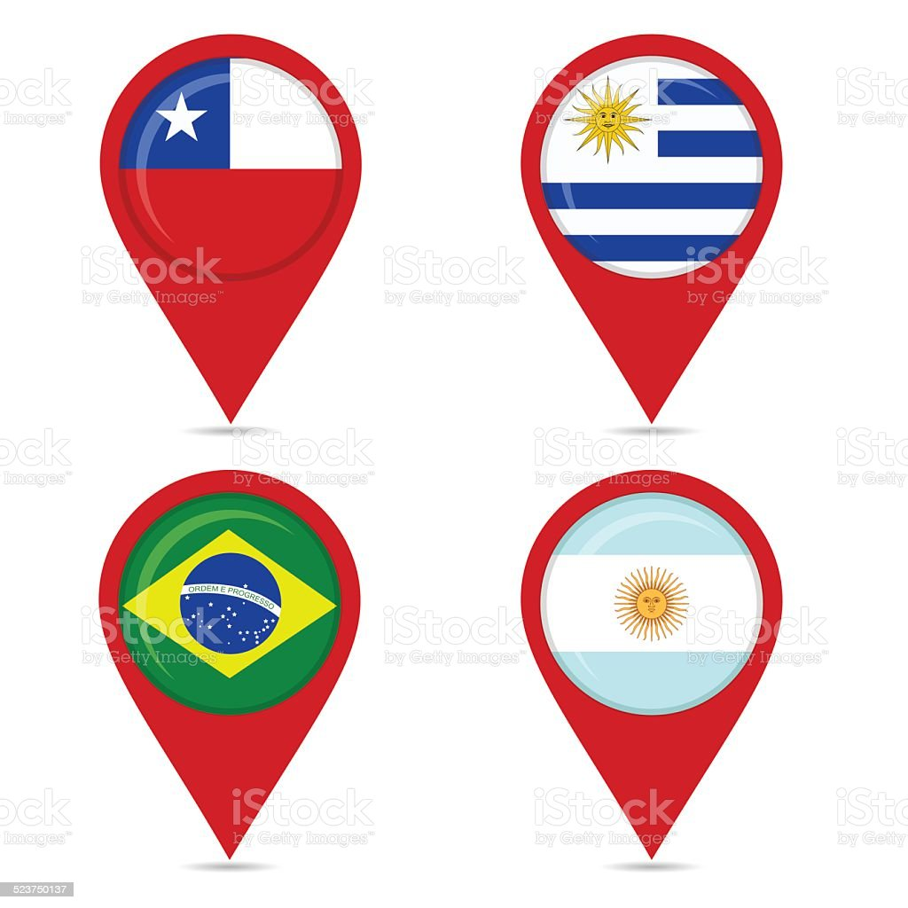 Map pin icons of national flags of South American countries vector art illustration