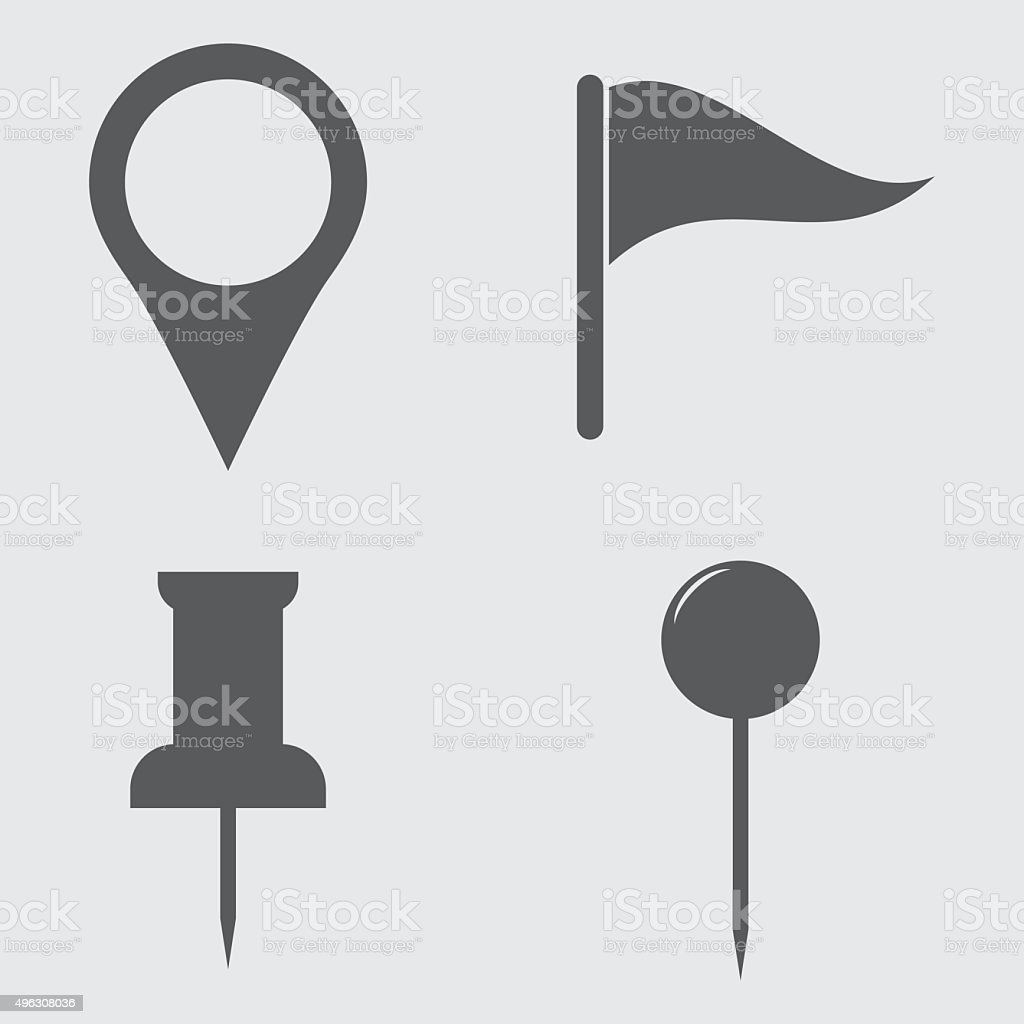 Map Pin Icons vector art illustration