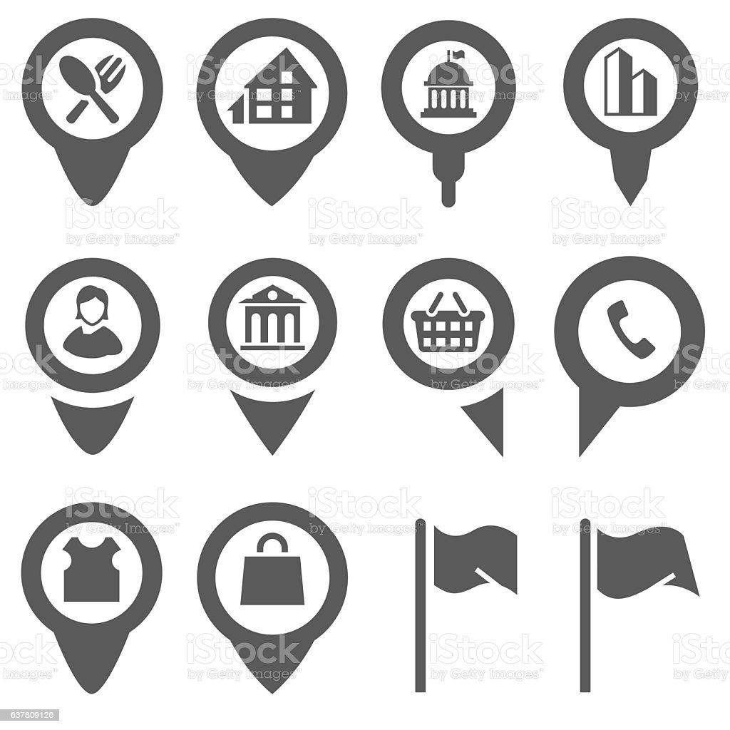 Map pin icons vector art illustration