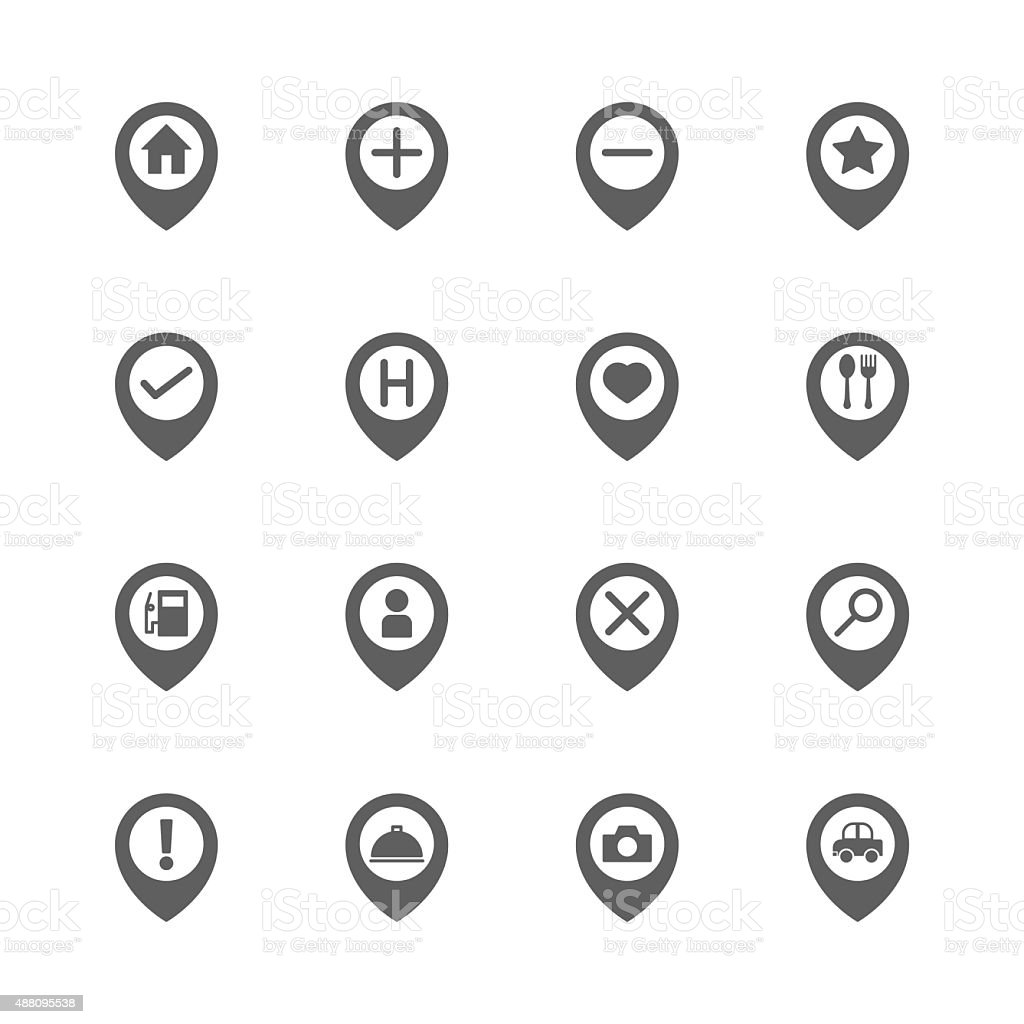 map pin location icons set vector art illustration