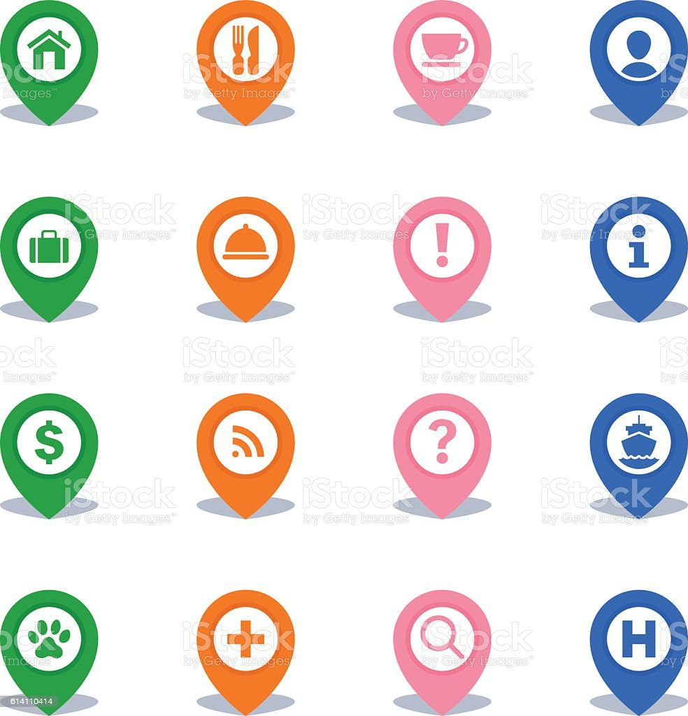 Map Pins Icons - Set 1 vector art illustration