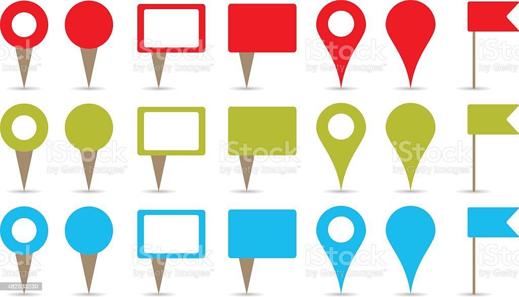 map pins vector art illustration