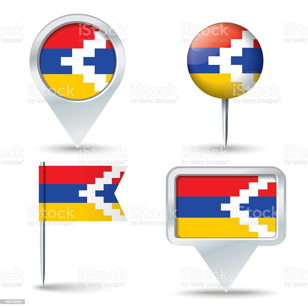 Map pins with flag of Nagorno-Karabakh Republic vector art illustration
